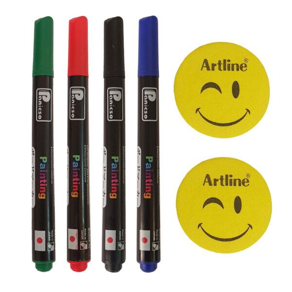 ماژیک وایت برد پنیکسو مدل FM-1470 بسته 4 عددی به همراه تخته پاک کن آرت لاین کد RT1  بسته 2 عددی