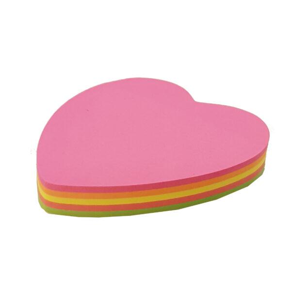 کاغذ یادداشت چسب دار طرح قلب رنگی بسته 100 عددی
