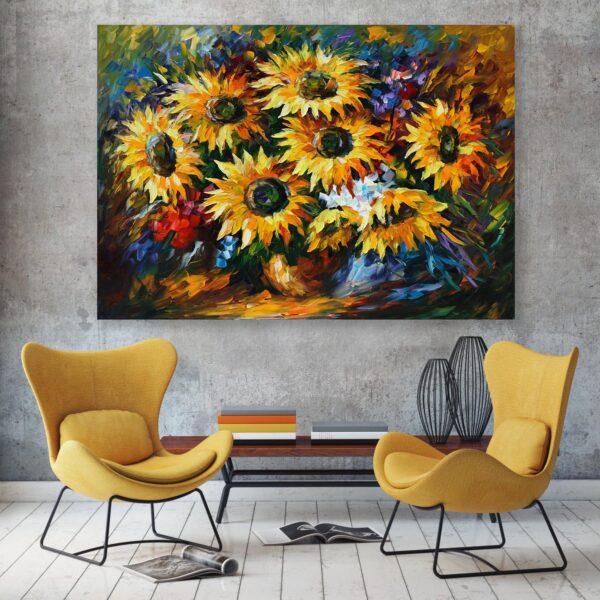 تابلو شاسی سری نقاشی های زیبا مدل گل های آفتابگردان کد 494