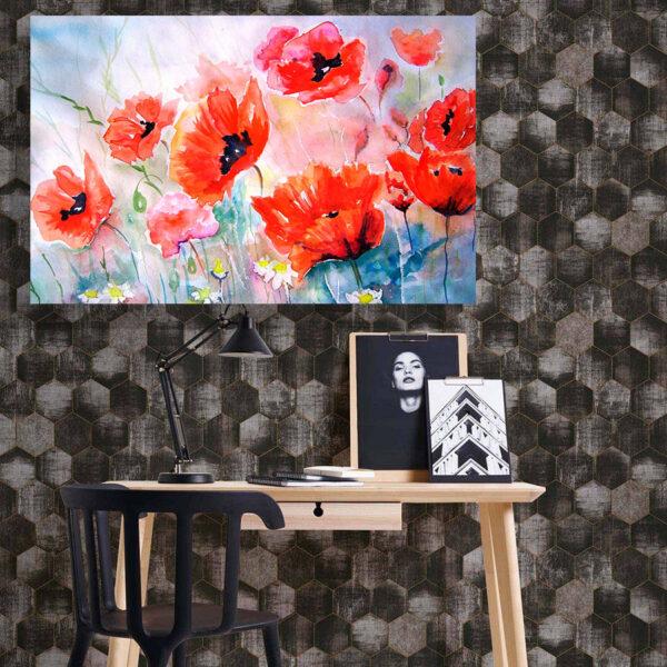 تابلو شاسی سری نقاشی های زیبا مدل گل های شقایق کد 495