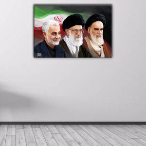 تابلو شاسی طرح امام خمینی و امام خامنه ای و شهید سلیمانی کد50